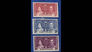 King George Coronation 3v stamps (toned gum) - Basutoland