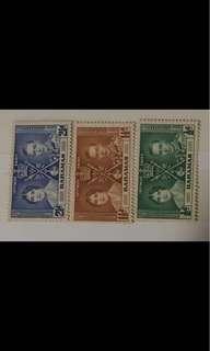 King George Coronation 3v stamps (toned gum) - Bahamas