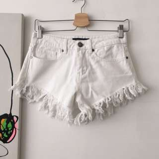 White Ripped Denim Shorts with Frays