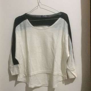 Black and white crop tee