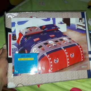 Cartoon with Double decker bus design bedsheet for Single Bed