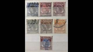 Malay malacca Queen Eliz 7v stamps