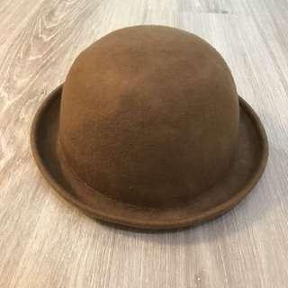 9成新英倫風駝色毛呢圓帽 帽子