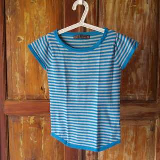 Trf Knitwear Blue Grey Stripes Top