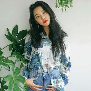 (PO) Palm Leaves Long Sleeves Top