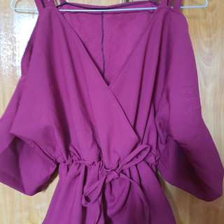 Wine red 0ff shoulder shirt