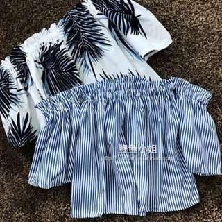 ulzzang blue and white stripe off shoulder top