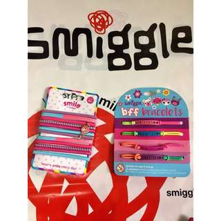 Authentic Smiggle SMILE hair ties and BFF bracelets
