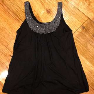 Black tank with sparkle collar