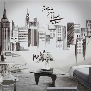 💥( This item No stock, Need Pre-order ) 3 in 1 Extra Large Size  Simple and modern wall sticker room living room sofa background wall decorations creative hand-painted building ( ⏹Size See Pic 4 )
