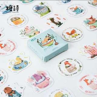 Po cute animals box of 45 stickers