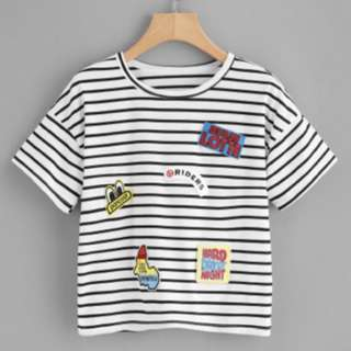 Horizontal Striped Embroidered Patches Tee