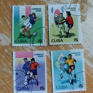 古巴郵票2002年足球運動已銷郵票4枚