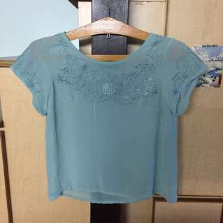 Mint green Floral Embroidered top