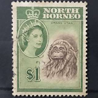 Malaya Queen Eliz North Borneo Orang Utah stamp