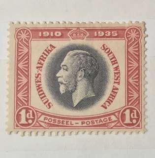 UK South Africa King George 1D Stamp mint (toned)