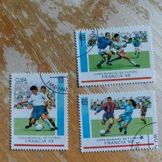 古巴郵票1998年法國足球世界杯運動已銷郵票,3枚