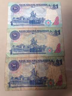 RM1 old currency x3