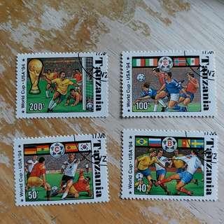 坦桑尼亞郵票1994年美國足球世界杯已銷郵票4枚