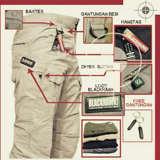 Celana outdoor tactical blackhawk twill