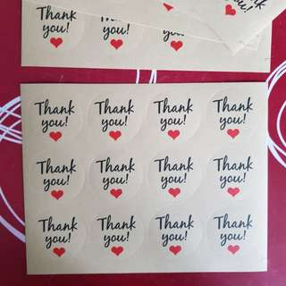 12pcs Kraft stickers《Thank You 》