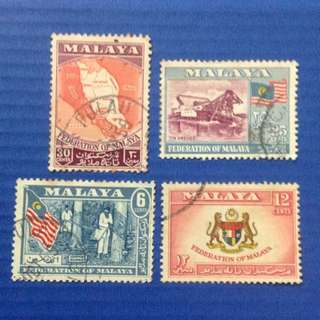 Malaya 1957-63 General Issues - set of 4V Used (0192)
