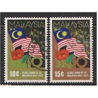 MALAYSIA 1973 10th Anniversary of Malaysia 2V used SG #108-109 (A)
