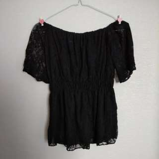 Black Lace Sabrina Top