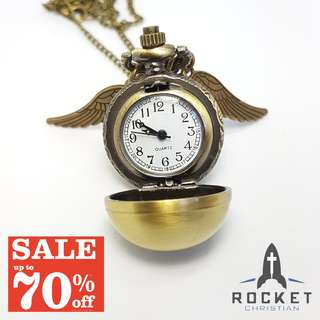 Vintage Pocket Watch Angel Wing Necklace *In Stock