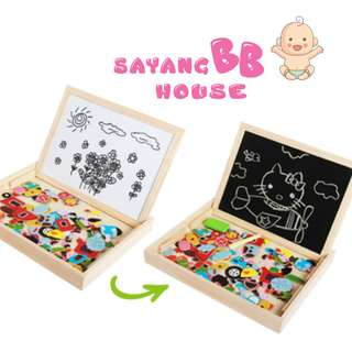 5151714-BB0123  Double Sided Magnetic Magic Puzzle Black & White Board Drawing Learning Tool