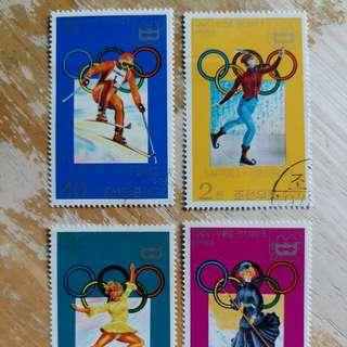 朝鮮郵票1978年冬季奥運動会已銷郵票4枚