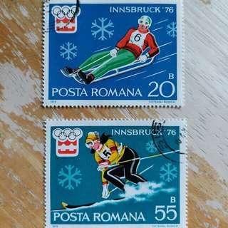 羅馬尼亞郵票1976年冬季奥運動会已銷郵票2枚