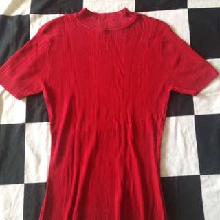 Red Turtleneck Top