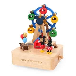 🚚 迪士尼 Disney / 米奇&米妮遊樂園木質旋轉音樂盒 / D210