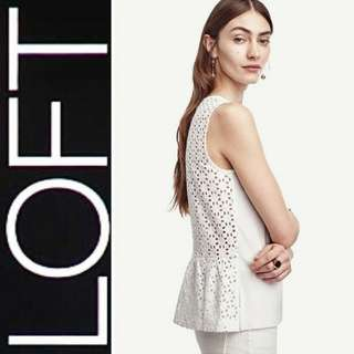 LOFT Crochet Sleeveless Peplum (White)