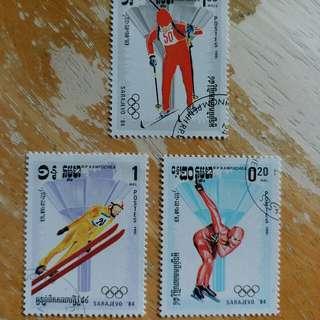 1984年冬季奥運動会已銷郵票3枚