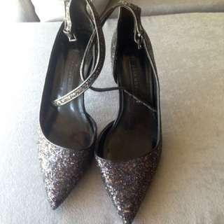 Zara Glittery Stilettos - Charcoal Grey