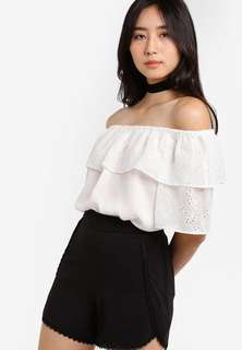 Miss Selfridge Embroidered Bardot Top