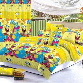 Premium Character Bed Sheet 4 in 1 Set (Spongebob C4) 5D