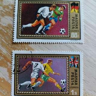 匈牙利郵票1972年足球運動已銷郵票2枚