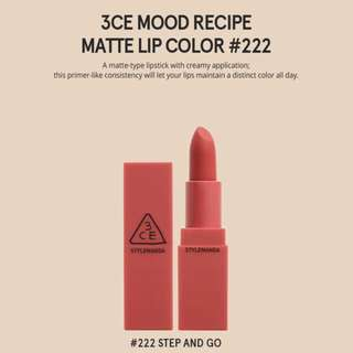 READY STOCKS | Stylenanda 3CE Mood Recipe Matte Lip Color - 222 Step And Go