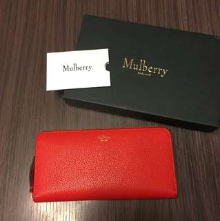 Mulberry red ziparound long wallet pebbled leather