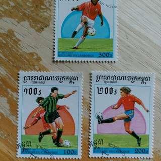 柬埔寨郵票1991年足球運動已銷郵票3枚