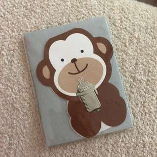 Baby Monkey Milk Birthday Note Card