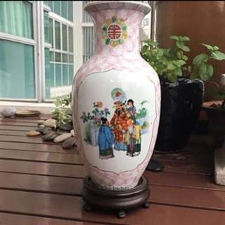 Vintage vase. Prosperity Health Happiness
