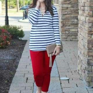 💋Stripe Top & Red Pants Plus Size Terno