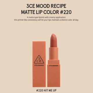 READY STOCKS | Stylenanda 3CE Mood Recipe Matte Lip Color - 220 Hit Me Up