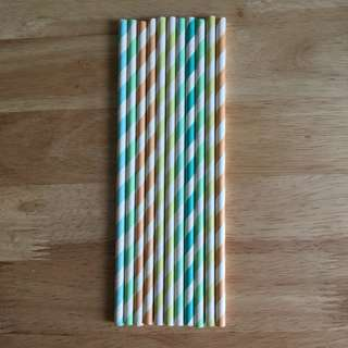 Pastel Striped Colour Block Straws