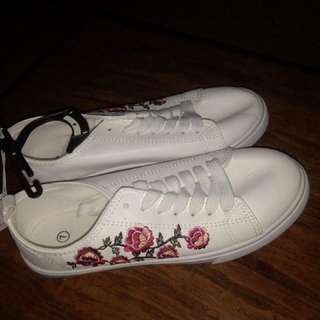 REPRICED!!! White Floral Shoes
