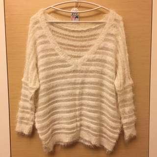 米白毛海V領簍空針織上衣